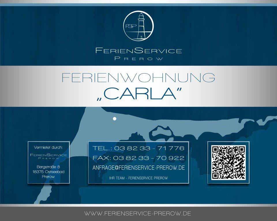 Prerow Ferienwohnung Carla - Ferienservice Prerow Obejktschild